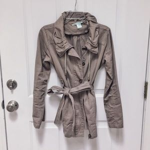 Tan Utility Jacket with Ruffled Collar